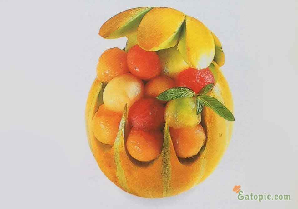Fruit Salad in Melon Basket www.eatopic.com