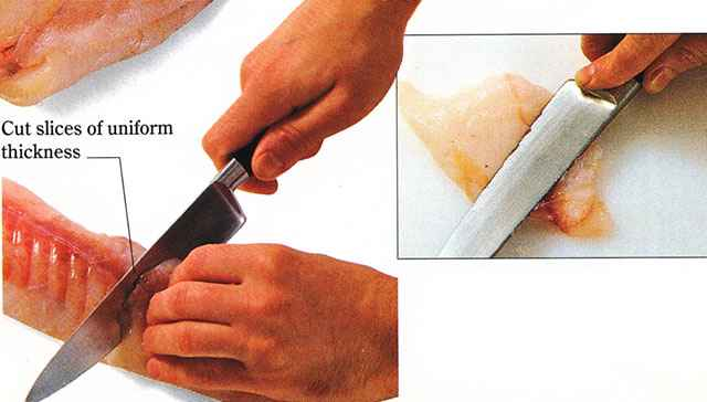 Slightly flatten each slice with the side of the chef's knife