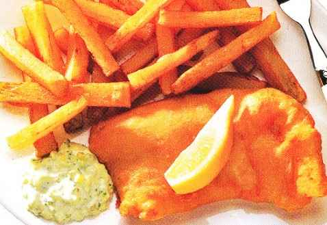 Divide the fish and chips among warmed individual plates