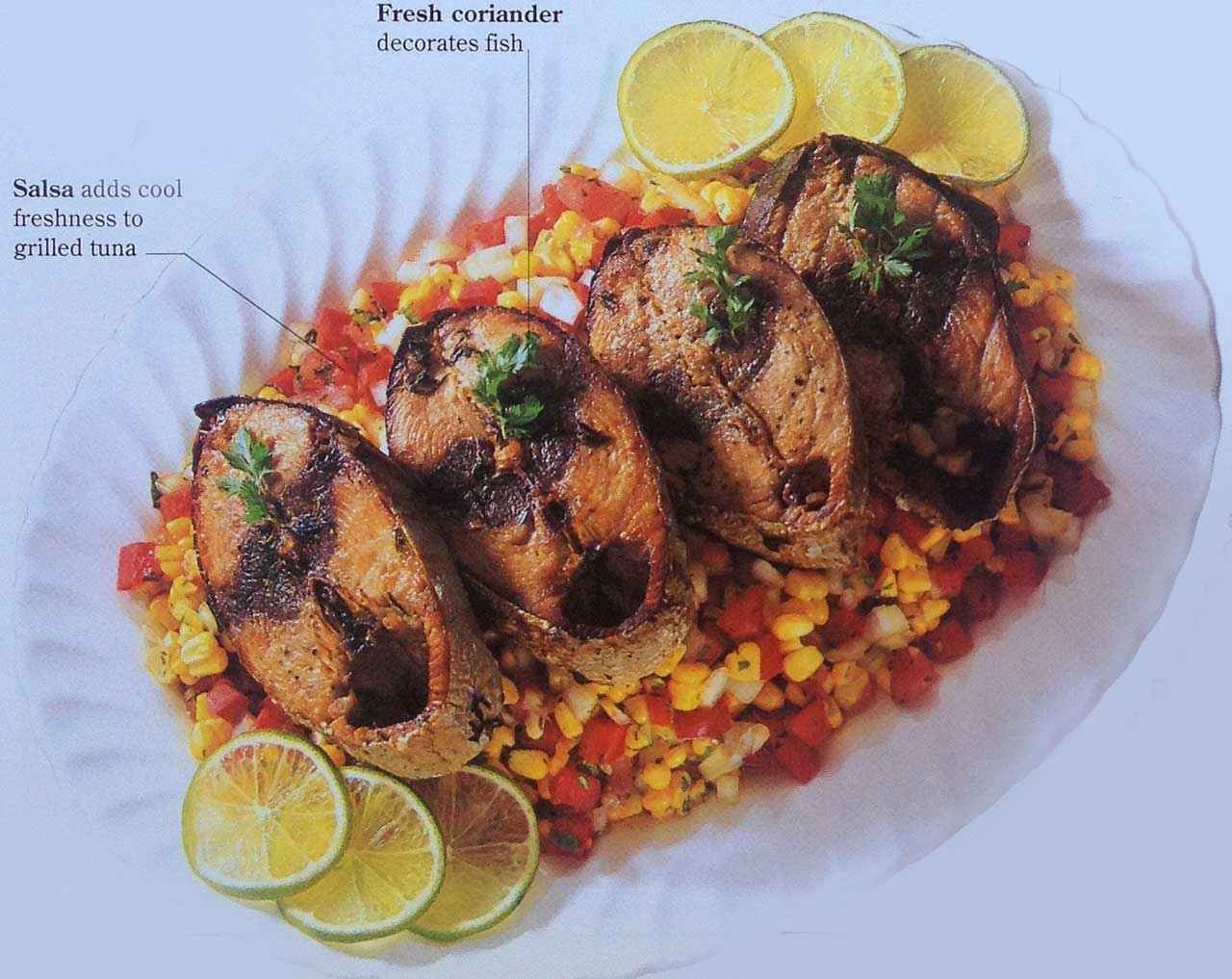 Arrange the tuna steaks on a bed of salsa on a platter and decorate each with a sprig of coriander