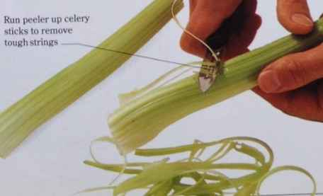 Peel the strings from the celery sticks, then cut the sticks across into thin slices