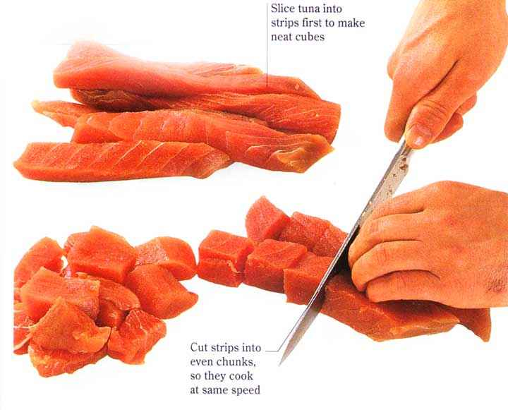 Rinse the tuna with cold water and pat dry with paper towels