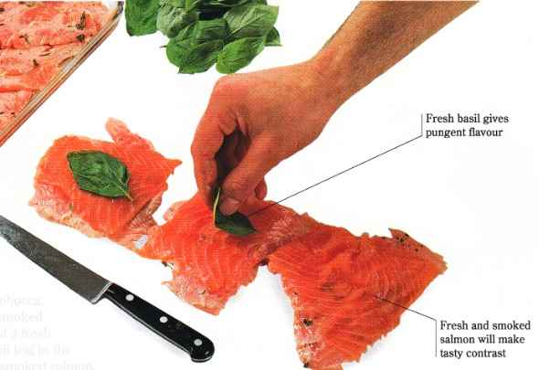 Put a basil leaf in the centre of each piece of smoked salmon.