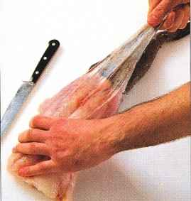 lf necessary, skin the monkfish using the filleting knife, cut