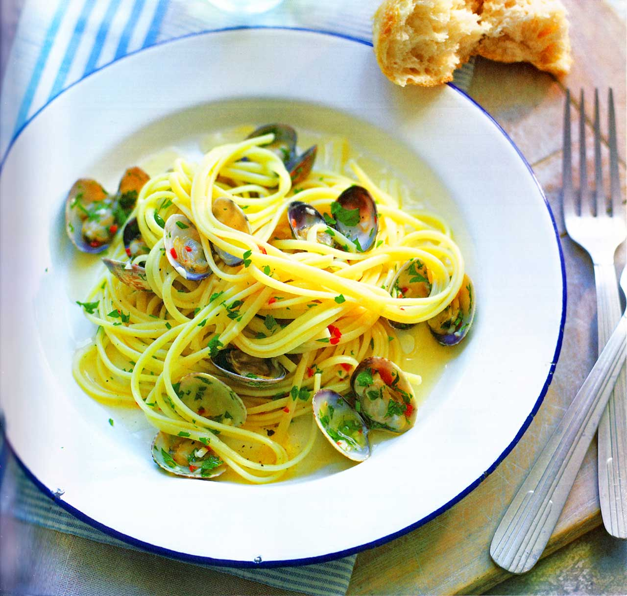 Clams with linguine pasta-linguine with clams recipe