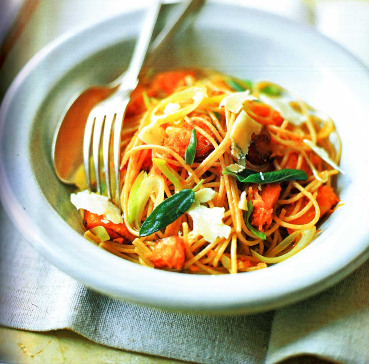spaghetti squash recipe-Spaghetti With Butternut Squash, Sage And Pecorino