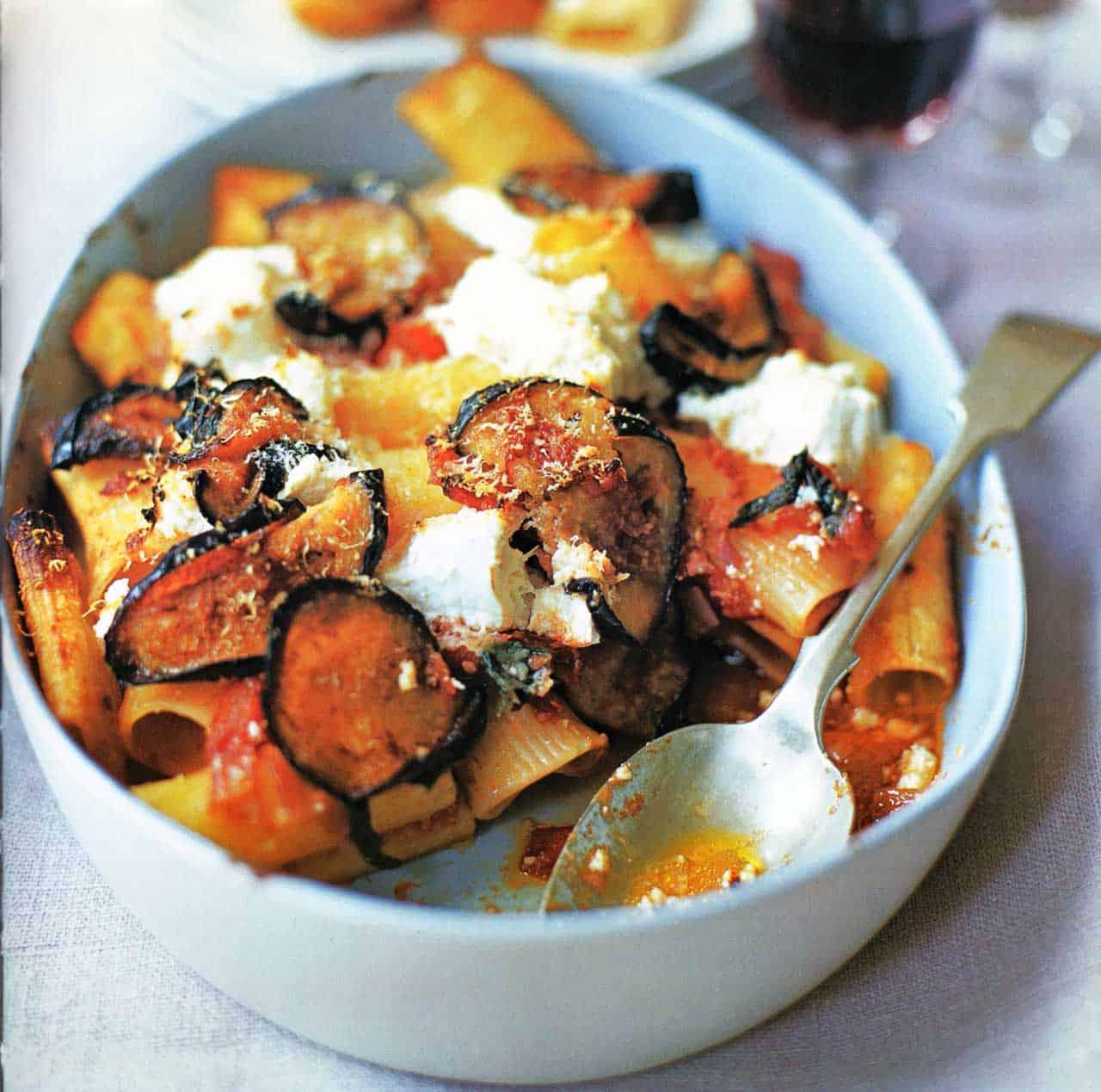 Baked Ziti With Eggplant Basil And Ricotta Recipe-baked ziti recipe www.eatopic.com