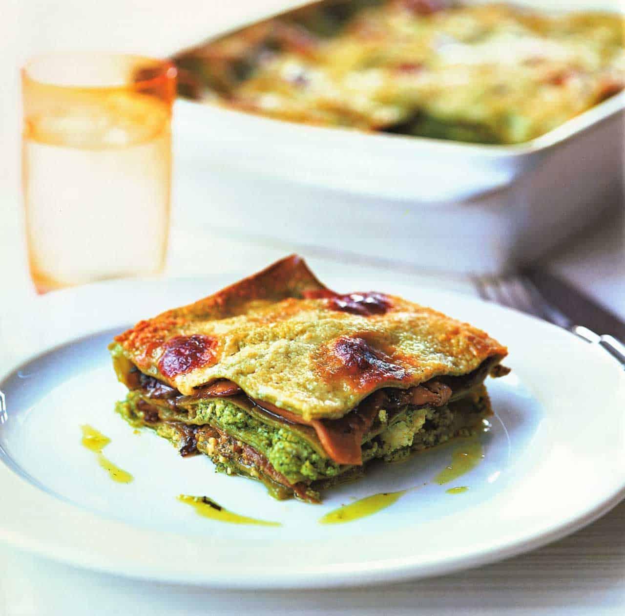 Pasta Bake-Green Lasagne With Ricotta Pesto And Mushrooms Recipe www.eatopic.com