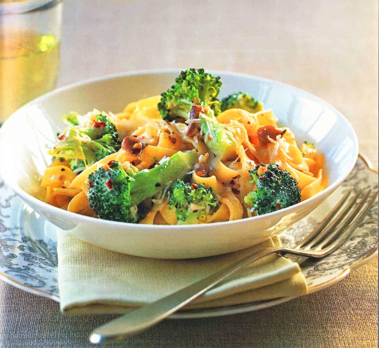 Tagliatelle With Broccoli, Anchovies, Parmesan And Creme Fraiche www.eatopic.com