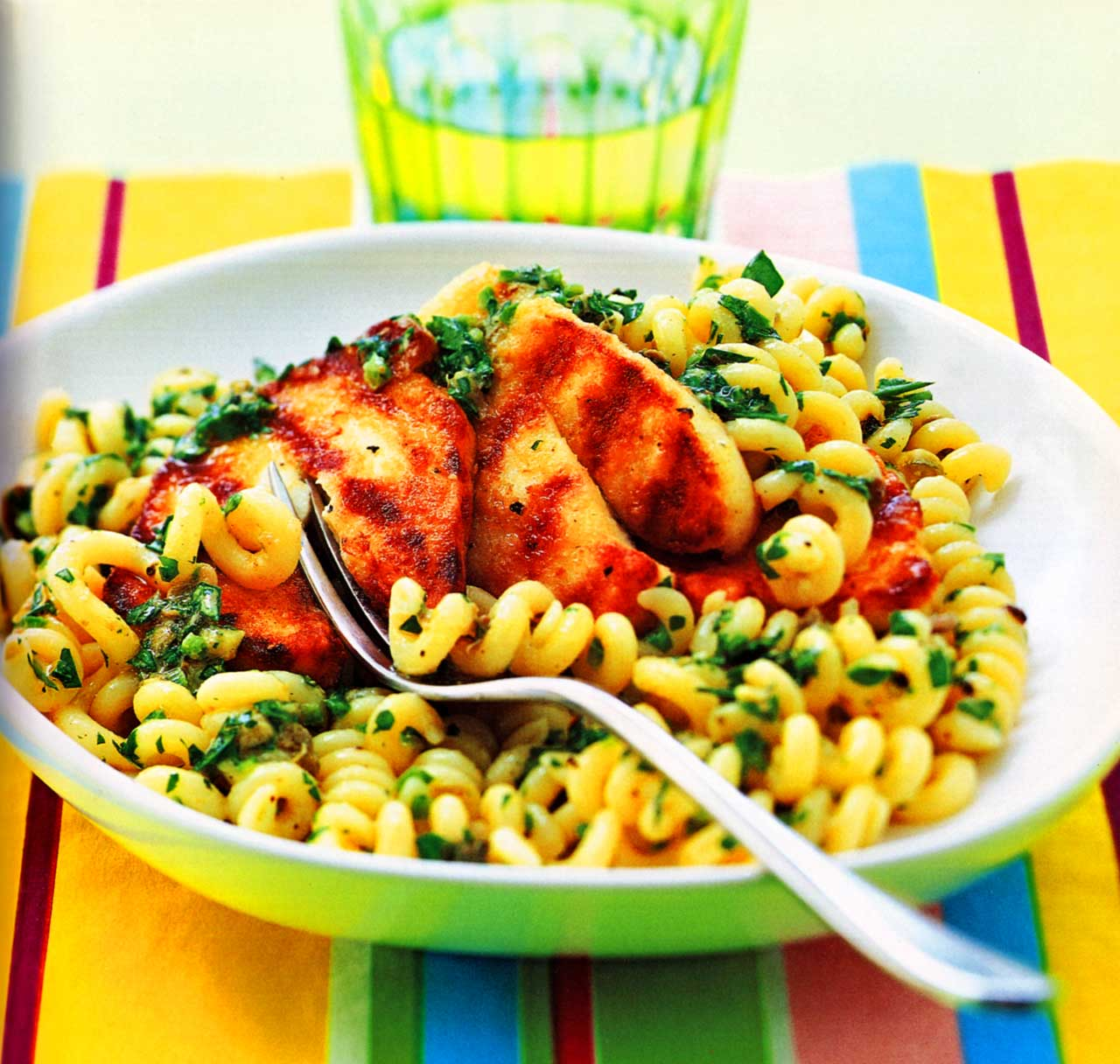 cheese pasta recipe-Fusilli With Salsa Verde And Chargrilled-www.eatopic.com