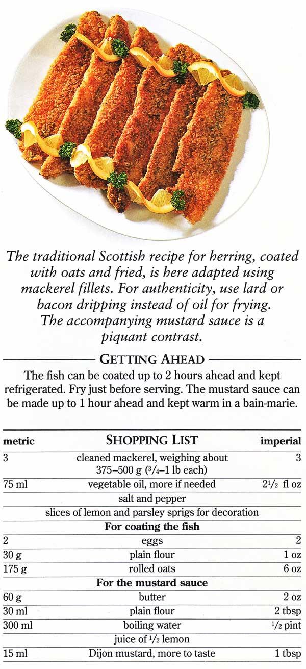 Pan-Fried Mackerel Coated in Rolled Oats Recipe