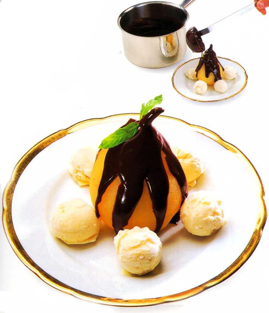 Poires Belle Helene Recipe-easy dessert recipes-chocolate dessert cake