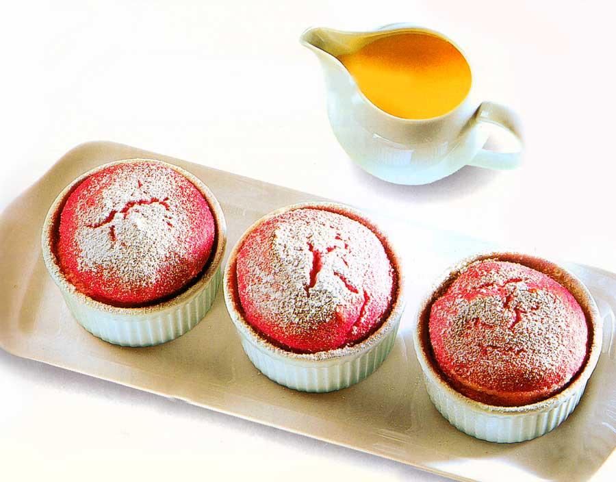 Raspberry Souffle Puddings with Kirsch Custard Sauce Recipe-calories-easy desserts recipe
