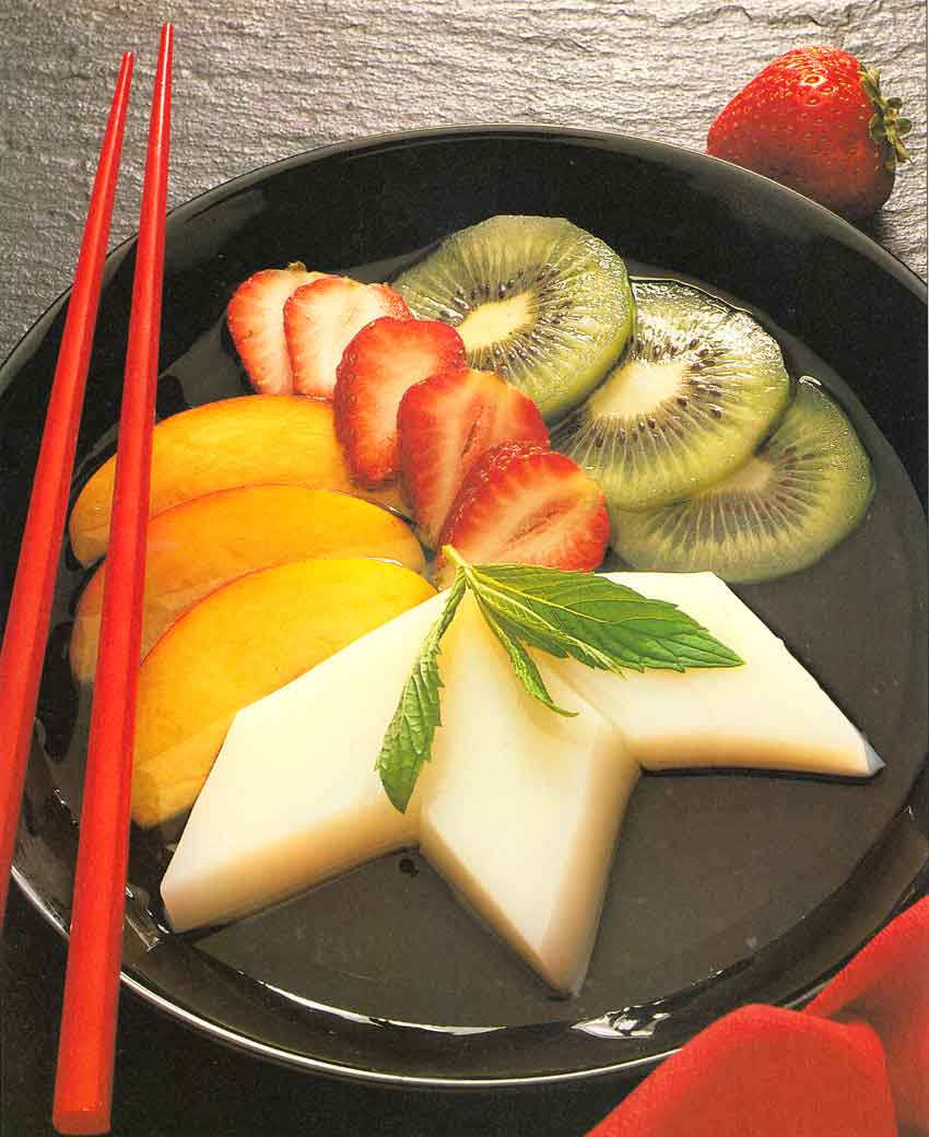 Chinese Style Dessert Recipe-Almond Float with Fruit-calories-nutrition