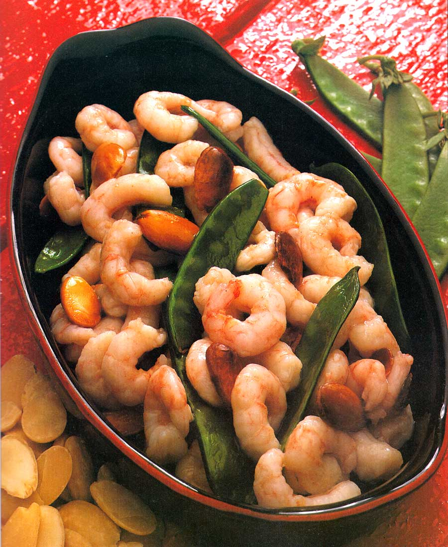 Snow Peas with Shrimp Recipe-easy Chinese Food-calories-Homemade-protein-carbs-seafood