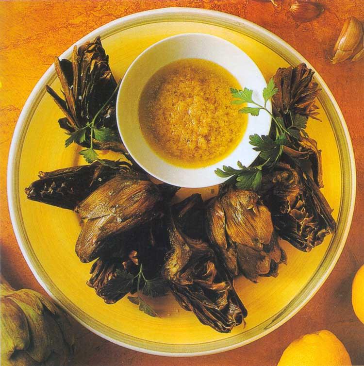 Charred Artichokes with Lemon Oil Dip
