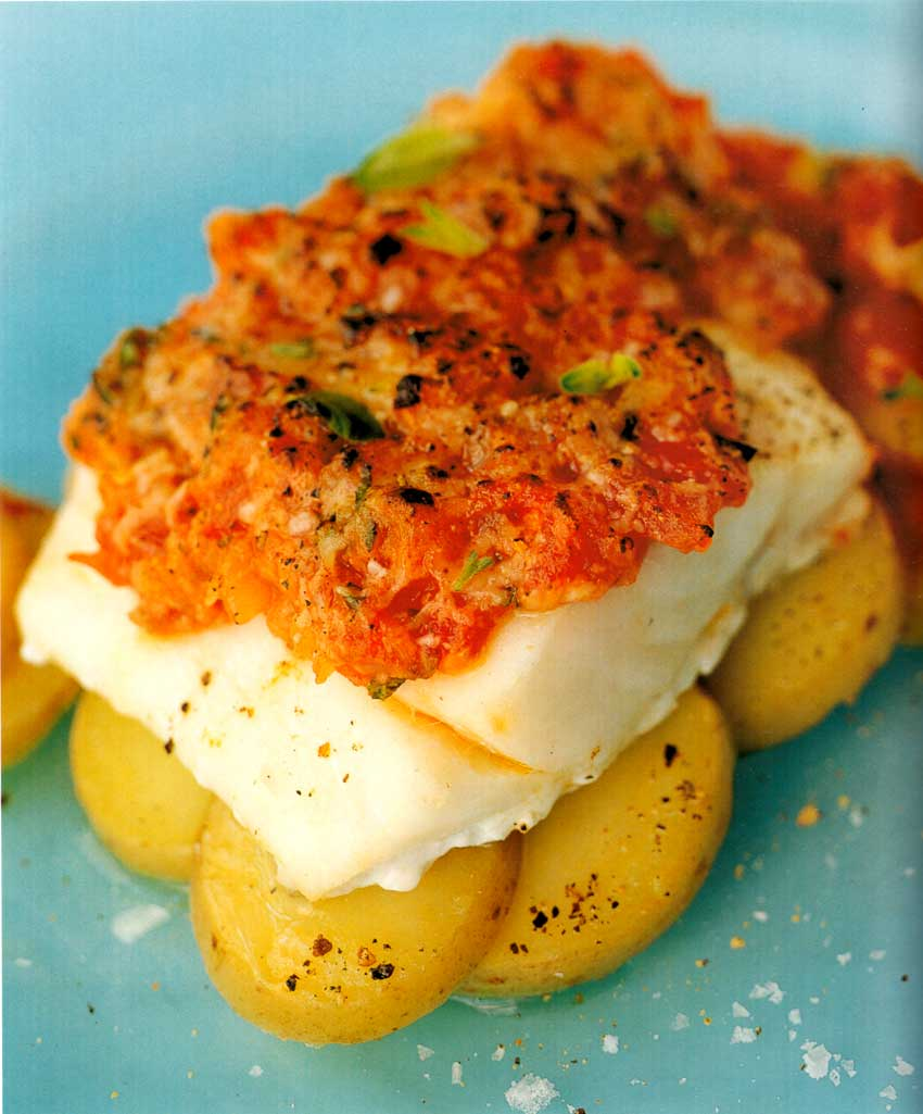 Cod Baked with Potatoes, Onions and Tomatoes-eatopic-easy homemade seafood recipes