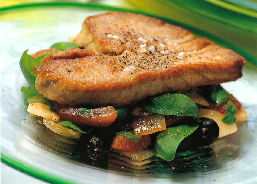 Fish Recipe-Fresh Tuna with Tomatoes calories-nutrition facts-easy seafood recipes