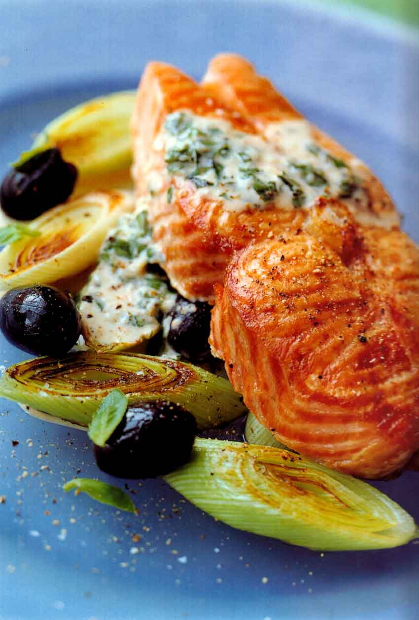 Salmon Steaks with Pesto Sauce Recipe-easy special seafood recipes-eatopic