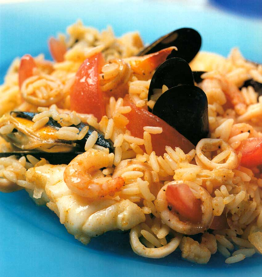 Seafood Rice Recipe-nutrition facts-calories-fish recipes-prawns-lobster-crab meat