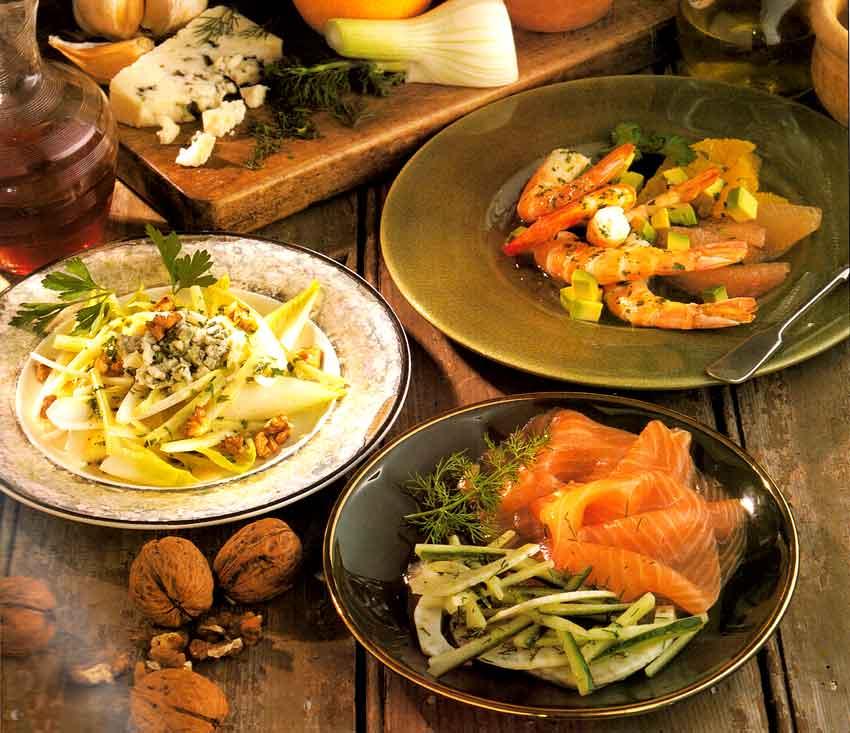 Smoked-Salmon-Salad-with-Dill-Chicory-Salad-with-Roquefort-prawn-avocado-citrus