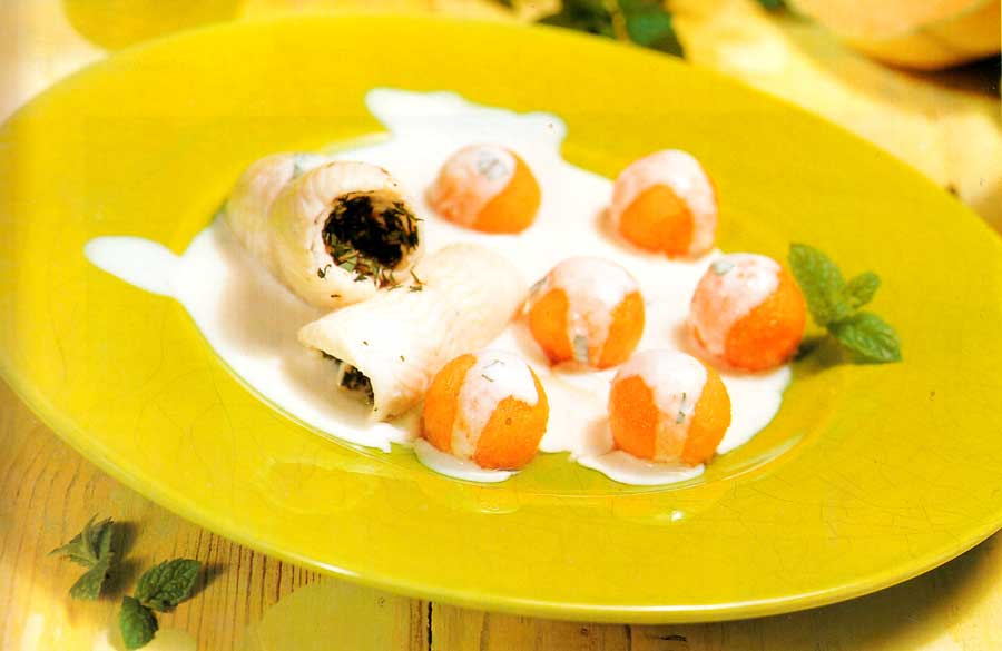 Fillets of Sole with Melon and Mint Sauce Recipe-low fat diet food