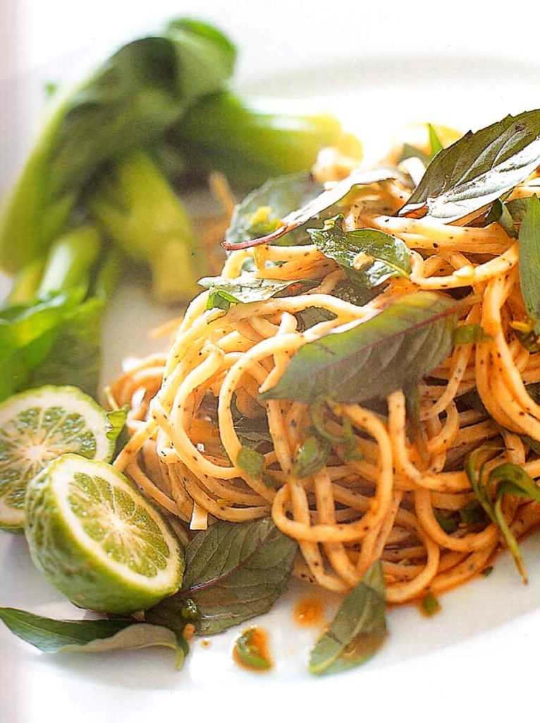 Pepper Linguini with Asian Herbs Recipe-nutrition facts-calories-easy pasta recipes