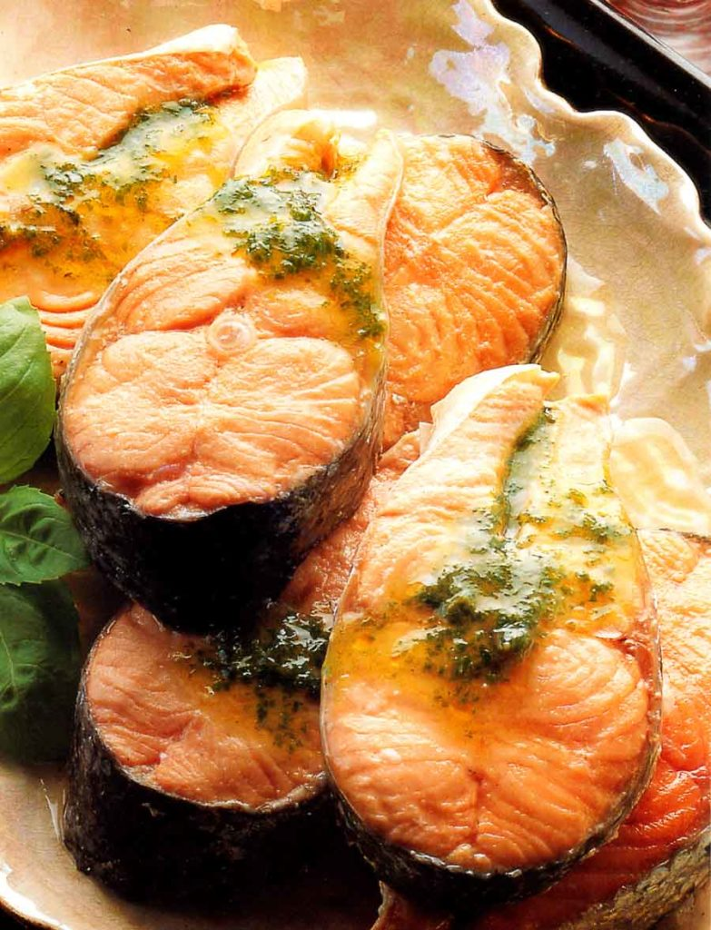 Poached Salmon Steaks with Hot Basil Sauce-Low Fat-diet recipe-calories-nutrition facts