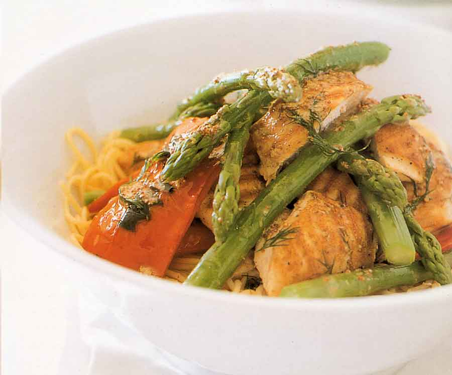 Spaghetti with Grilled Chicken and Asparagus Recipe-calories-nutrition facts