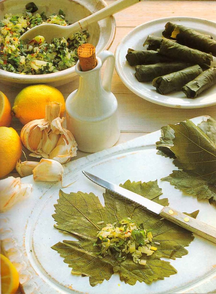 Stuffed-Vine-Leaves-With-Garlic-Yogurt-Mediterranean-Appetizers-calories-nutrition-facts