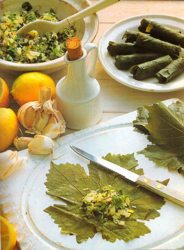 Stuffed-Vine-Leaves-With-Garlic-Yogurt-Mediterranean-Appetizers-calories-nutrition-facts