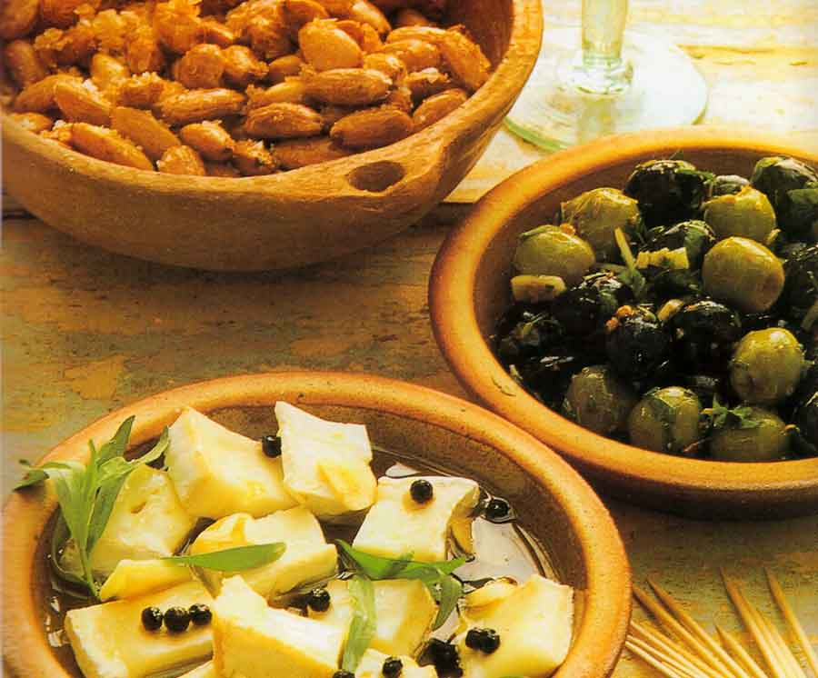 Tapas-Recipe-with-Almonds,-Olives-and-Cheese-Mediterranean-cuisine-recipes
