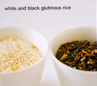 Glutinous rice comes in plump, opaque grains, which can be either white or black, or short or long. These grains become sticky and sweet when cooked. It is necessary to soak glutinous rice overnight if you are steaming it. It can be used unsoaked if you are cooking it by the absorption method. Predominantly used in sweets, glutinous rice is also the staple rice of some Asian countries. It is a medium-grain rice used for making puddings and savory dishes.