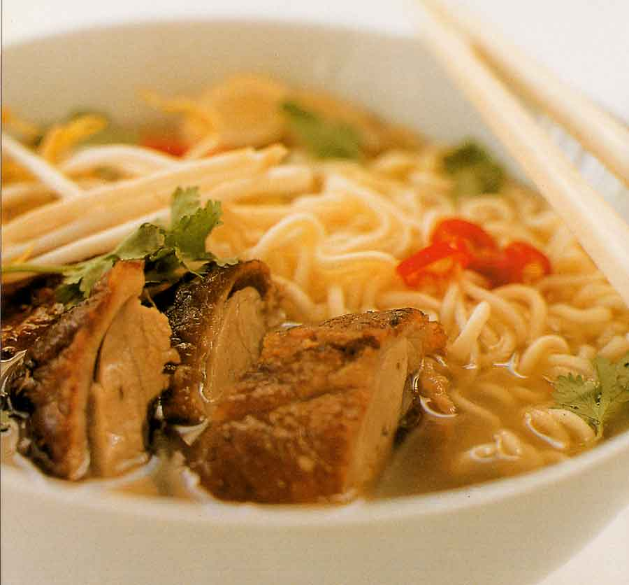 Barbecue Duck and Ramen Soup Recipe-calories-poultry-chicnese cuisine noodle