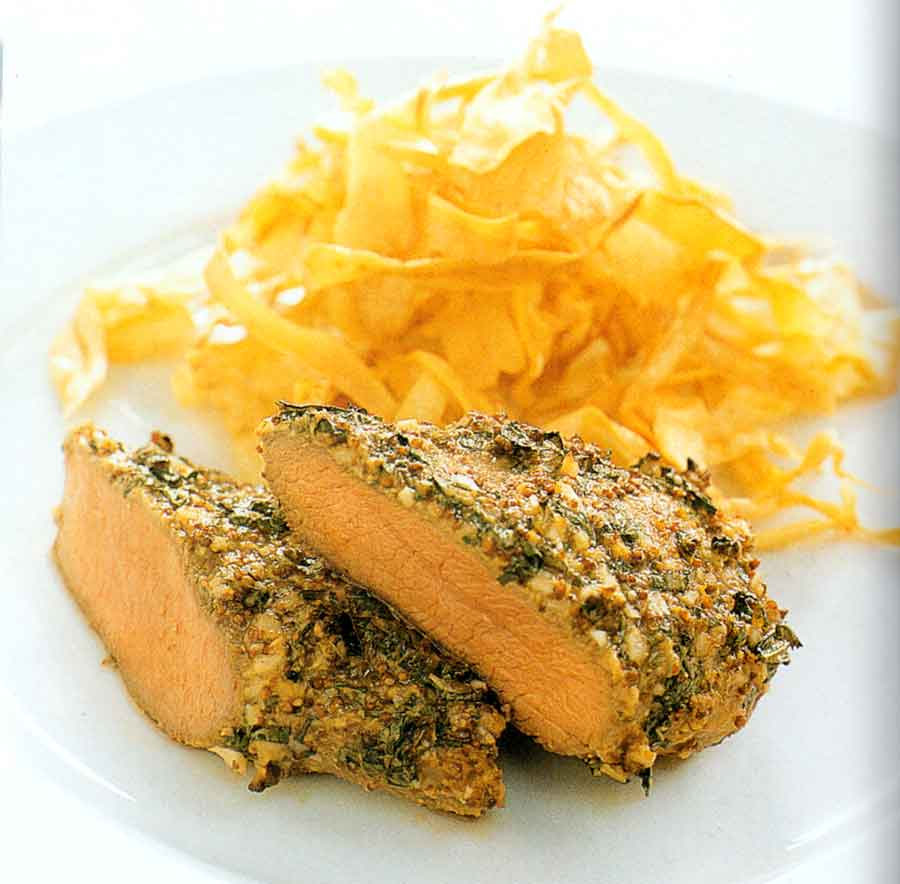 Roast Lamb Loin with Parsnip Chips Recipe-calories-nutrition facts-meat-low fat