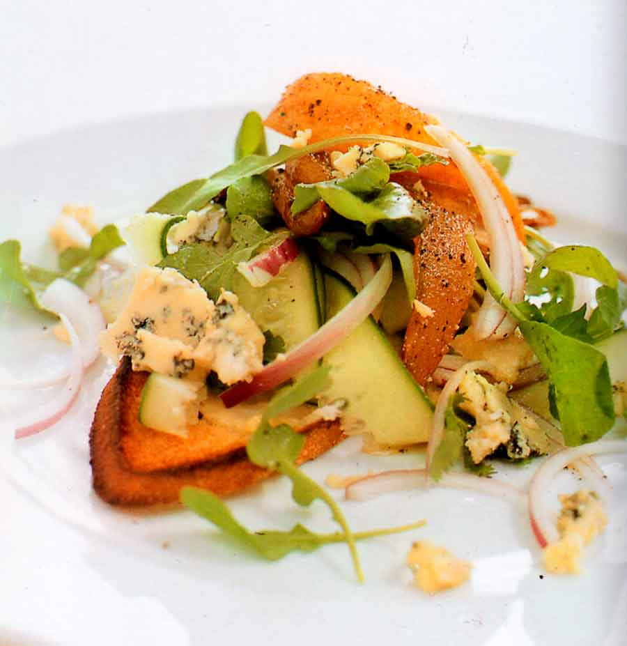 Rocket, Blue Cheese and Fried Pear Salad Recipe-calories-nutrition facts-diet-vegetarian