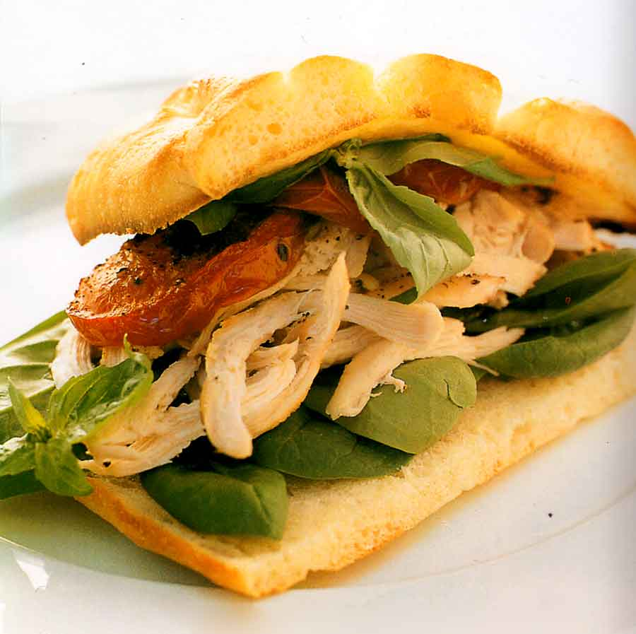 Chicken, Roast Tomato and Basil Sandwiches Recipe-calories-nutrition facts-diet salad