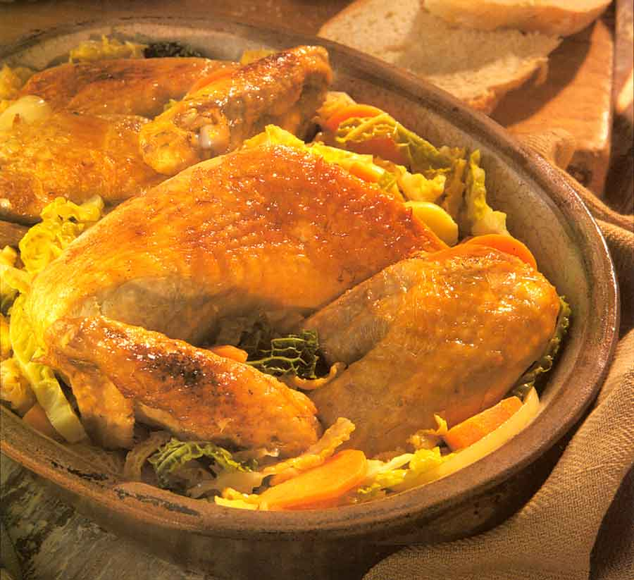 Guinea Fowl or Chicken with Cabbage Recipe-calories-Pintade au Chou-french cuisine recipes