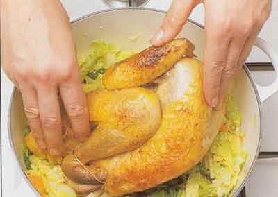 Guinea-Fowl-or-Chicken-with-Cabbage-Recipe-calories-nutrition facts-Pintade-au-Chou-step-by-step-with-photo