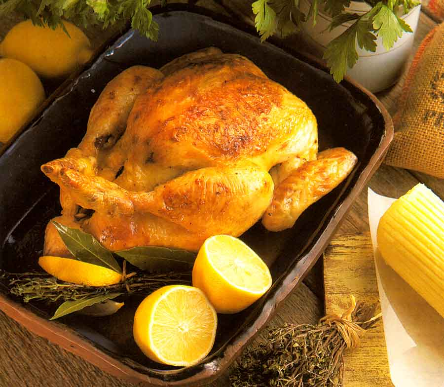 Roast-Chicken-with-Lemon-and-Herbs-recipe-Poulet-Roti-calories-nutrition-facts-step by step
