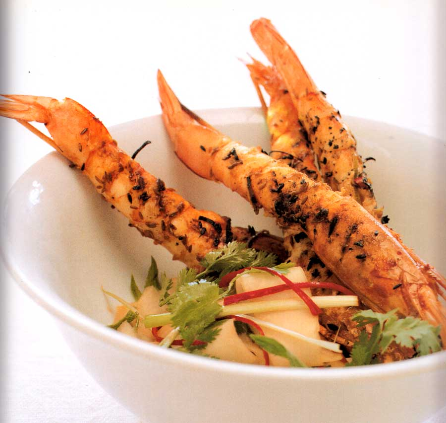 Seafood Recipe-Lime Prawns with Green Mango Salad-calories-nutrition facts-diet low fat