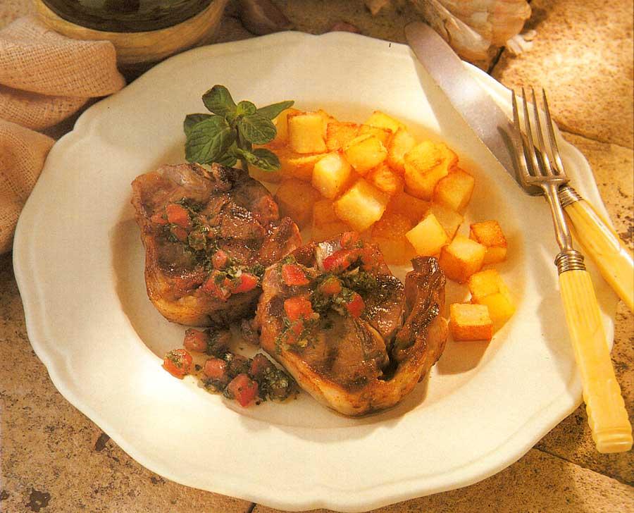 Lamb Chops with Mint Recipe-Cotes d Agneau Vinaigrette a la Menthe-best french cuisine food