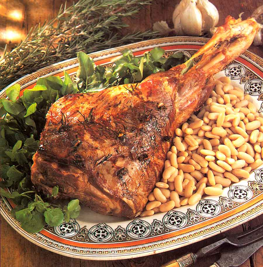 Roast-leg-of-lamb-with-beans-calories-Gigot-d-Agneau-nutrition-facts-easy-french-style-recipes