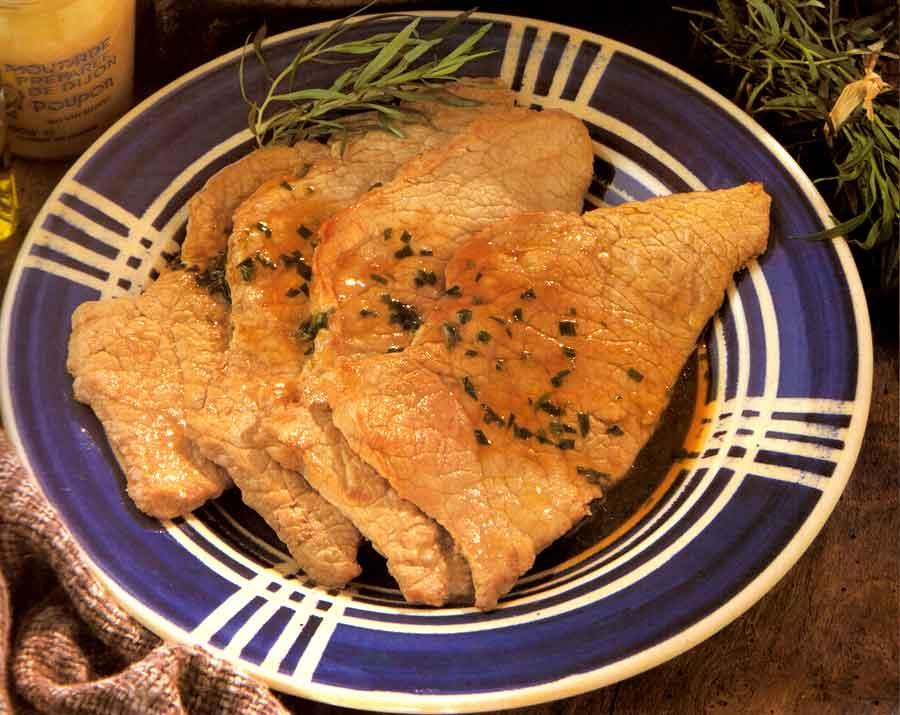 Veal Escalopes with Tarragon Recipe-calories-Veau a l Estragon-easy french cuisine recipe