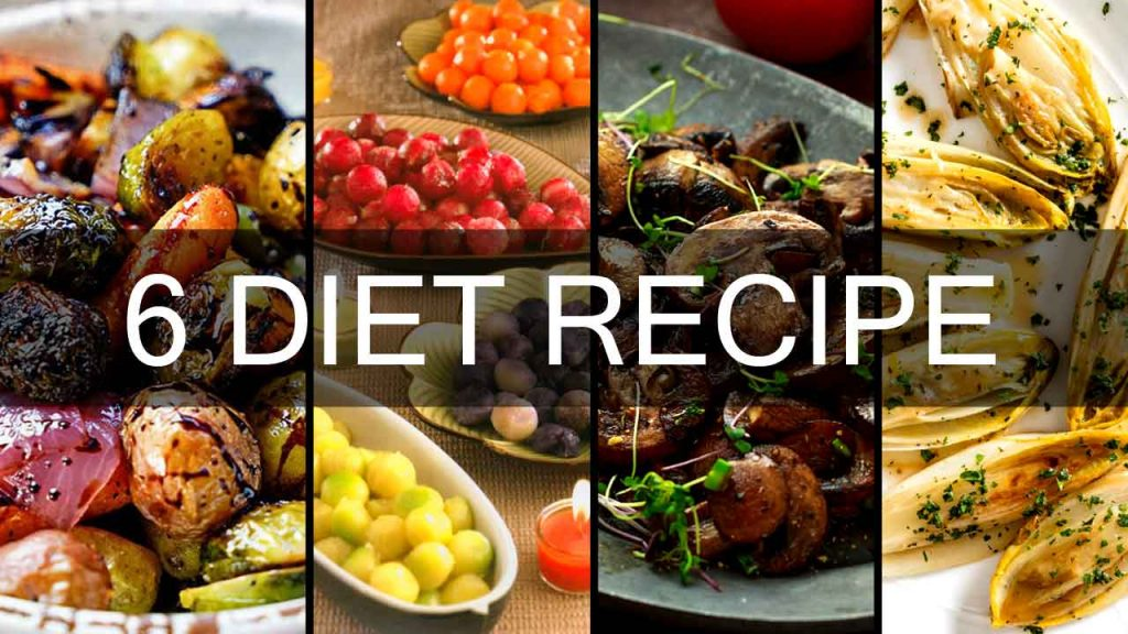 6 diet food recipe-Steamed Fresh Petits Pois-Sauteed Spinach-Braised Endives-Vegetable Wheels-Roasted Vegetables