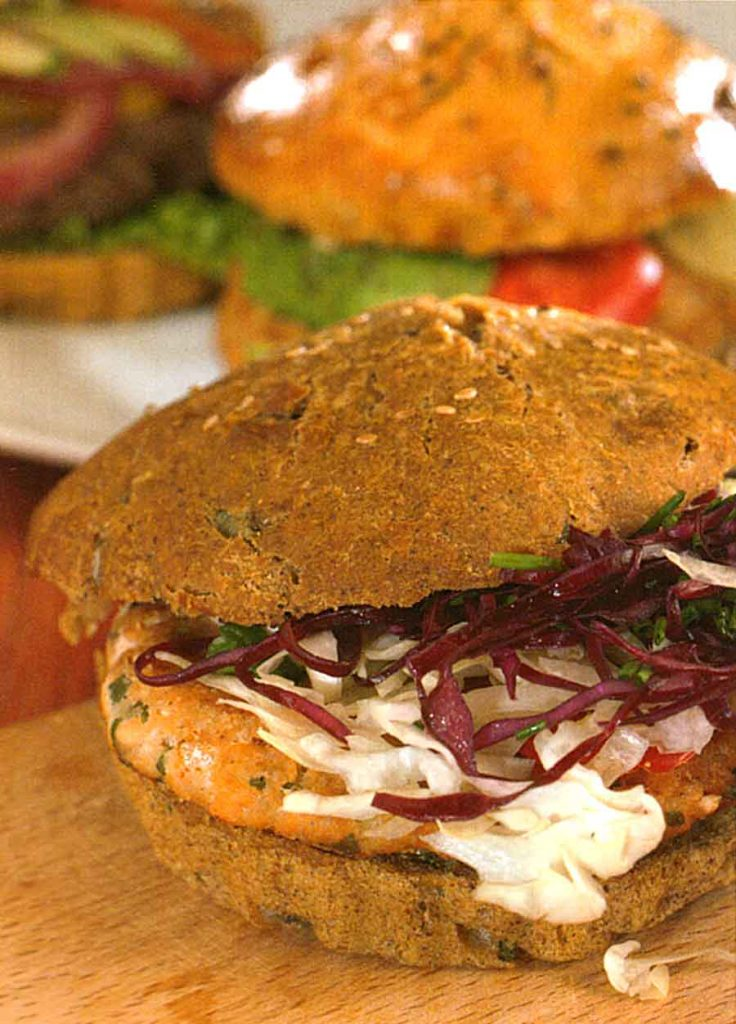 Easy Fish Burgers-salmon burger-homemade recipes-nutrition facts-calories-diet food
