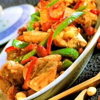 Spicy Peanut Chicken Recipe-Chinese Style Chicken-how many calories-homemade-easy-recipematic